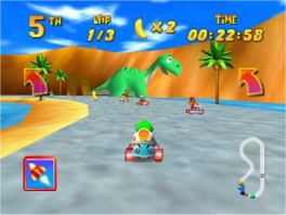 Verken in <a href = https://www.mario64.nl/Nintendo-64-spel.php?t=Diddy_Kong_Racing>Diddy Kong Racing</a> het eiland per auto, vliegtuig of hovercraft!