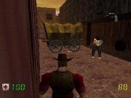 Reis door de tijd met <a href = https://www.mario64.nl/Nintendo-64-spel.php?t=Duke_Nukem_64 target = _blank>Duke Nukem</a>, hier afgebeeld als cowboy!