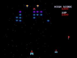 In Galaga ga je met een ruimteschip op reis en knal je hordes vijanden neer!