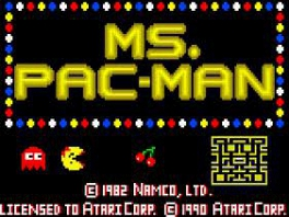 """Hier zien we het titelscherm van """"Pacman met een strikje"""", eh, """"Ms Pacman""""."""