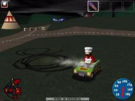 Niet alle levels zijn simpele races: in dit level gaat het bijvoorbeeld om slippen in cirkels!
