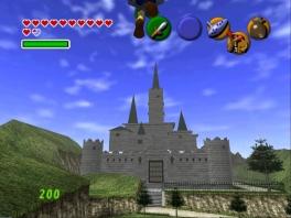 Hier zien we Link naar Hyrule Castle... vliegen? Oké...