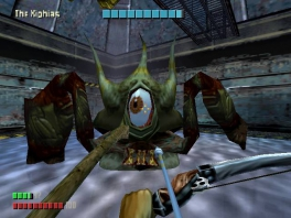 Dit lijkt wel een Zelda-eindbaas, inclusief de gigantische zwakke plek in de vorm van een oog.