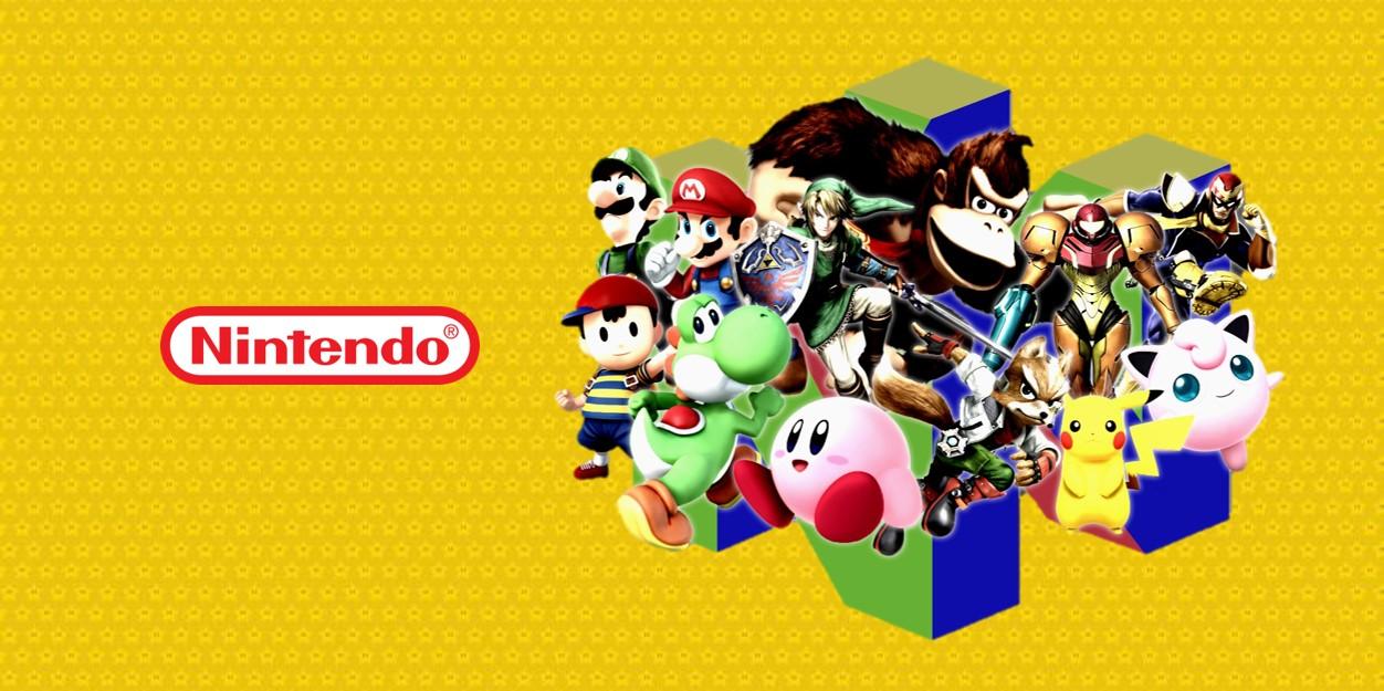 N64 logo met Nintendo studio characters